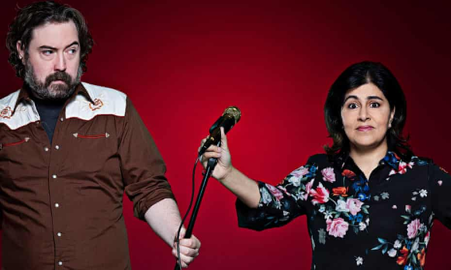 'I'm going to make you look good and I don't want that' … Helm with Warsi, as part of Channel 4's Stand Up to Cancer special.