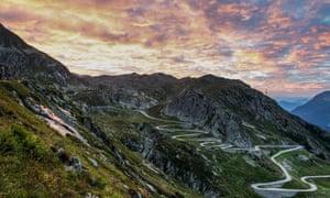 Sunrise at the St Gotthard Pass, Switzerland.