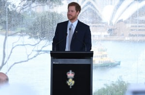 Prince Harry speaks to guests and the Australian Invictus squad at the launch of the Invictus Games Sydney 2018 at Admiralty House