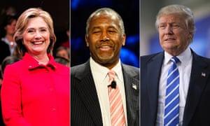 Hillary Clinton, Ben Carson and Donald Trump