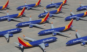 A number of grounded Southwest Airlines Boeing 737 Max 8 aircraft are shown parked at Victorville Airport in California in 2019.
