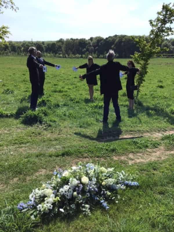 Dorothy's funeral group hug.