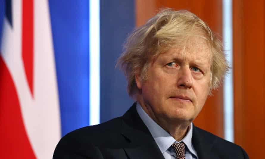 Boris Johnson at a coronavirus press conference in March 2021