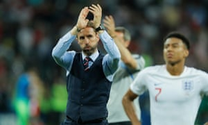 Gareth Southgate applauds the England fans after the final whistle.
