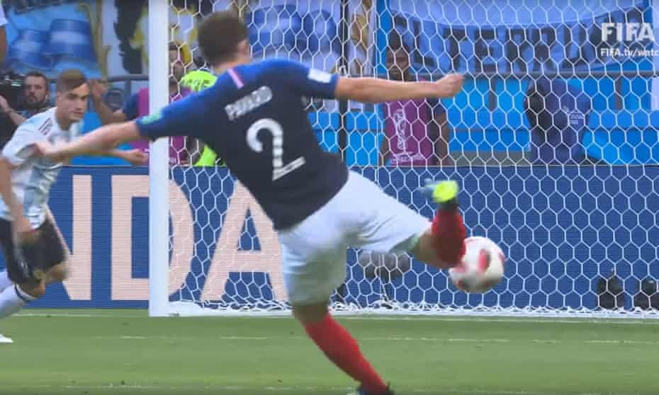 A screengrab from FifaTV coverage of Benjamin Pavard's goal for France v Argentina at the 2018 World Cup.
