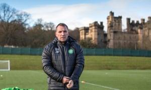 Brendan Rodgers surveys the action at Celtic's training facility in Lennoxtown, near Glasgow.