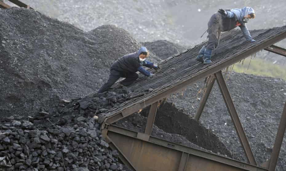 Workers at a coalmine in Huaibei in Anhui province, central China.