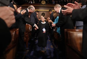 Ginsburg arrives for Barack Obama's address to a joint session of Congress on 24 February 2009.