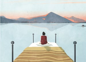 Illustration of woman at the end of a pier and looking at mountains