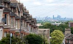 The City of London seen across a row of houses in Crystal Palace