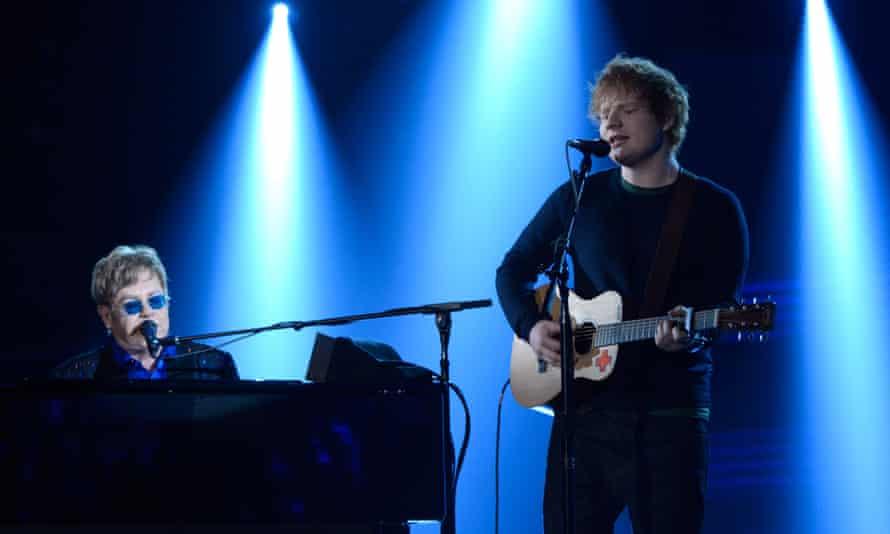 Elton John and Ed Sheeran at the Grammys in 2013