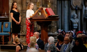 Freya Lewis, a survivor of the Manchester terror attack and Jenny Grant (left), a nurse who helped Freya with her injuries, at the service at Westminster Abbey in London.