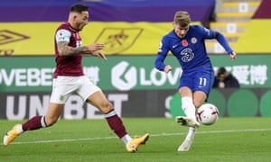 Timo Werner guides the ball home for Chelsea's third.