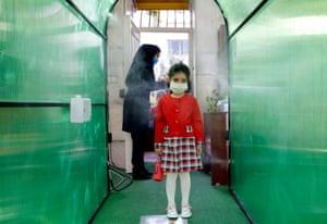 Schoolgirl in polythene tunnel
