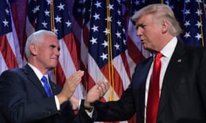Mike Pence and Donald Trump on election night last year.