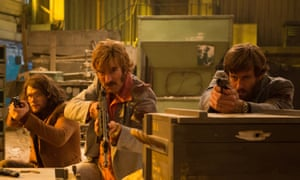 Gun crazy … from left, Jack Reynor, Sharlto Copley and Armie Hammer