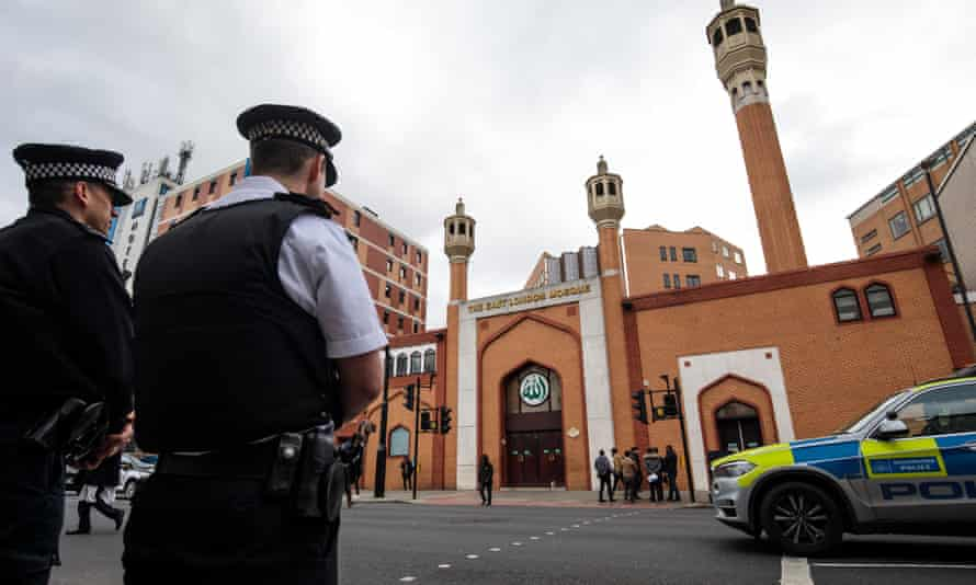 Police outside the East London mosque