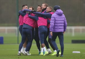 Spurs players during training on Friday.