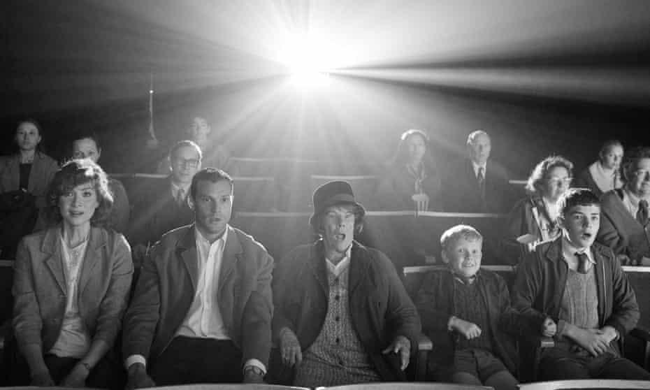 Big-screen magic  … (left to right) Caitríona Balfe, Jamie Dornan, Judi Dench, Jude Hill and Lewis McAskie in Belfast.