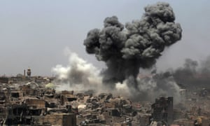 Smoke rises in Mosul in July after an airstrike by US-led coalition forces targeting Islamic State.