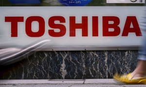 Toshiba shares fell after the company predicted a large write-down of Chicago Bridge & Iron, bought by its subsdiary Westinghouse Electric.