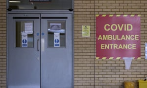 Covid ambulance entrance at Frimley Park hospital in Surrey.