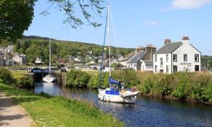 Yachts entering lock at Ardrishaig on the Crinan Canal, Argyll, Scotland