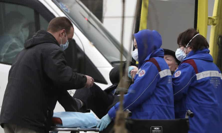 Novomoskovsky medical centre in Kommunarka, Moscow, for suspected coronavirus patients, on 30 April.