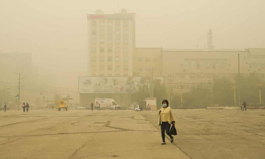 Wildfire smoke hanging over Yakutsk, capital of the republic of Yakutia, on Thursday
