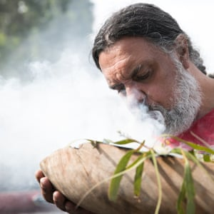 A smoke ceremony performed before the protest