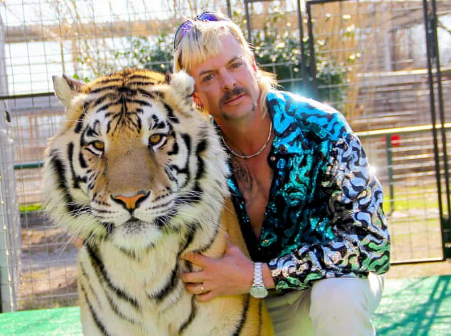 Joe Exotic with one of his tigers..