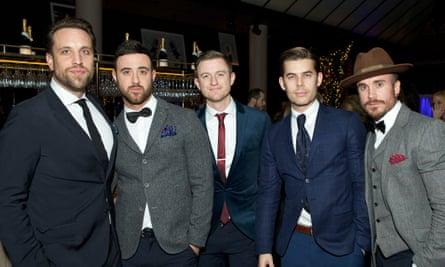 Matley (centre) pictured with the Overtones in London, November 2015.