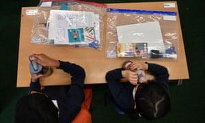 School pupils at a desk