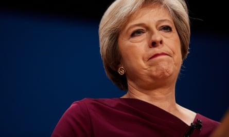 Prime minister Theresa May making her keynote speech to the Conservative party conference.