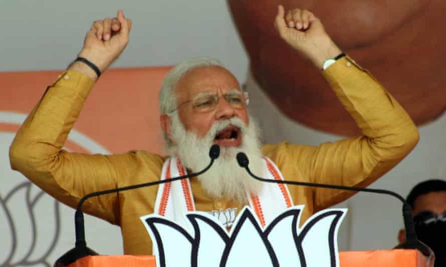 India's prime minister, Narendra Modi, addresses a campaign rally in Kolkata