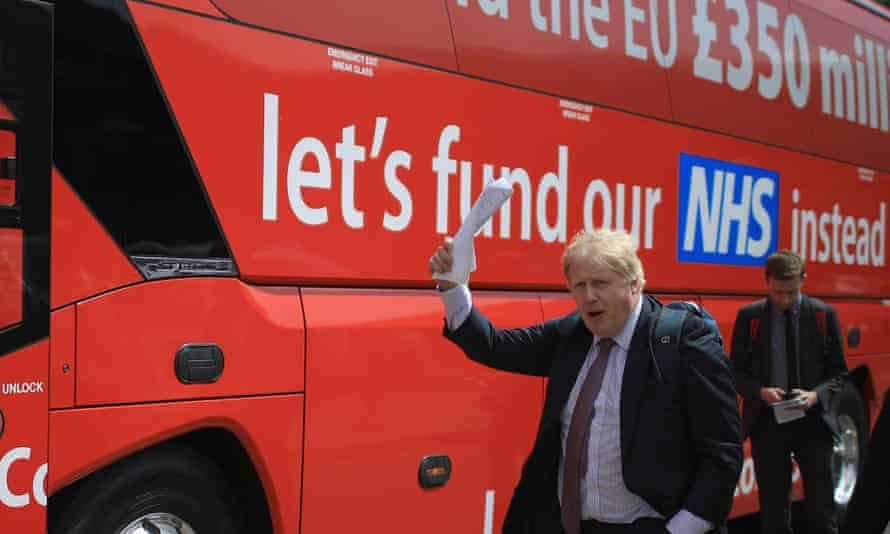 Boris Johnson by the Leave campaign bus in May 2016.