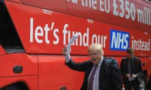 Boris Johnson boards the Vote Leave, Brexit Battle Bus.