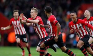 Ward-Prowse celebrates scoring Southampton's second goal.