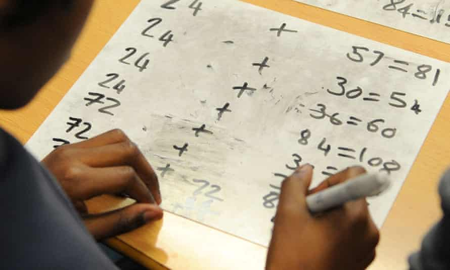 Child studying maths
