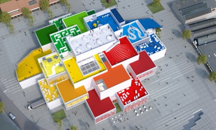 A model of the new Lego House in red, yellow, green and blue