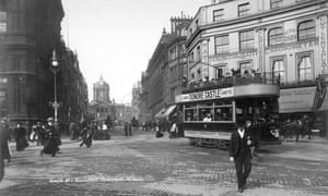 Castle Street in Liverpool at the turn of the last century. The city's tram lines were ripped up in 1957.
