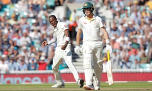 England's Jofra Archer celebrates after trapping Australia's Marnus Labuschagne (right) lbw on day two of the fifth Ashes Test.