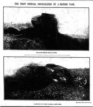 The first photographs of tanks appears in the paper, 23 November 1916.