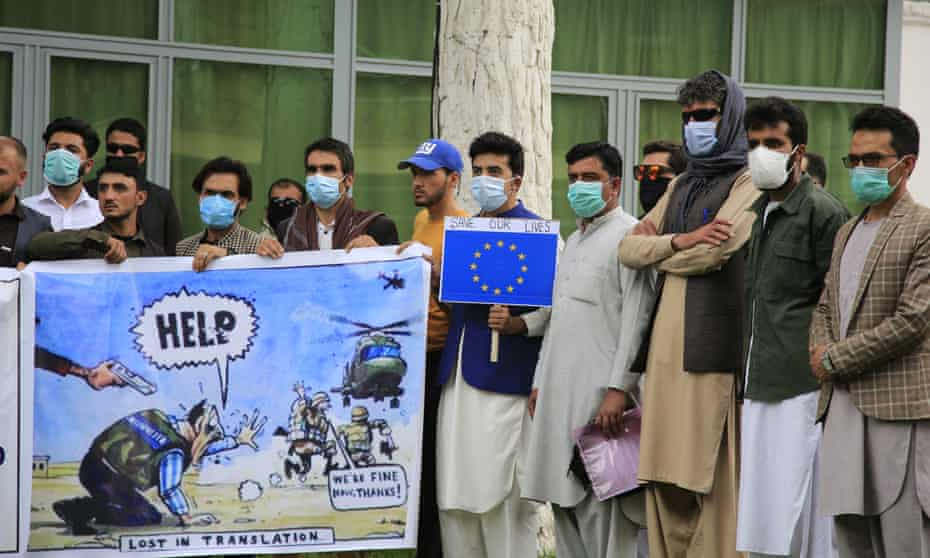 Former Afghan interpreters protest against a lack of protection from the US government and Nato allies in Kabul, Afghanistan.
