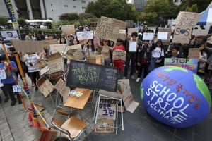 Seoul, South Korea Students stage a rally in Seoul. Hundreds of students boycotted classes and gathered to demand world leaders' act to stop climate crisis