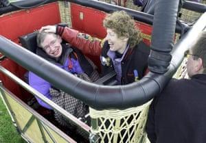 Stephen Hawking taking a trip in an hot air balloon