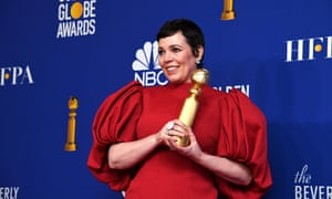Olivia Colman accepts an award for best actress in The Crown.