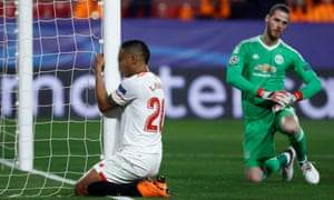 Luis Muriel looks dejected after his header was saved brilliantly by Manchester United's goalkeeper David de Gea.