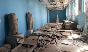 A view shows damaged artefacts inside the museum of the historic city of Palmyra, after forces loyal to Assad recaptured the city.