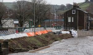 Flood defences in Mytholmroyd, Calder valley, West Yorkshire.